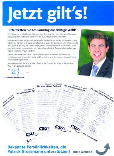 Zwei Tage vor der Stichwahl wurde dieses Flugblatt an alle Sinzinger Haushalte verteilt. Dann gab es ein denkbar knappes Ergebnis. Jetzt sieht sich der frisch gewählte Bürgermeister Patrick Grossmann dem Vorwurf ausgesetzt, Vereine für den Wahlkampf vereinnahmt zu haben.