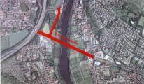Luftbild der geplanten Sallerner Regenbrücke. Foto: Stadt Regensburg
