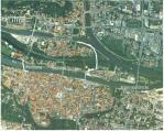 Trassenvarianten aus dem Jahr 2004. Luftbild: Stadt Regensburg