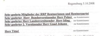 Tiefe Verwerfungen? Kopf des offenen Briefes von Karl Kabas an die RRP-Mitglieder.