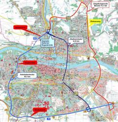 Karte der BI LOS: Hellblau die Autobahnstrecke, dunkelblau: die \