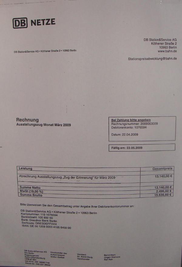 Abrechnung: Im Monat März kassierte die DB AG 15.636,60 Euro vom Zug der Erinnerung.