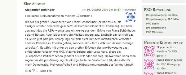 """Stellungnahme von Alexander Dollinger zu seinem Übertritt zu """"Pro Bayern"""". Bildschirmfoto der Pro-Bayern-Webseite."""