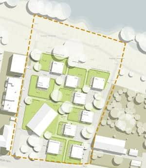 Der nun aktuell vorgestellte Plan des Immobilienzentrums. Neun Punkthäuser sollen jetzt entstehen. Grafik: Immobilienzentrum