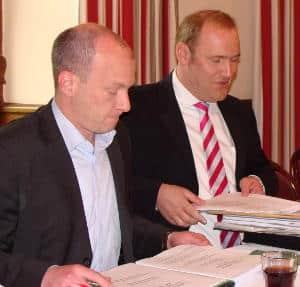 Einst lief die Zusammenarbeit bestens: Joachim Wolbergs und Christian Schlegl 2008 in der großen Koalition. Foto: Archiv