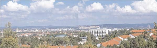 Ostenturm vs. Dom: Blick von Regensburg-Ziegetsdorf.