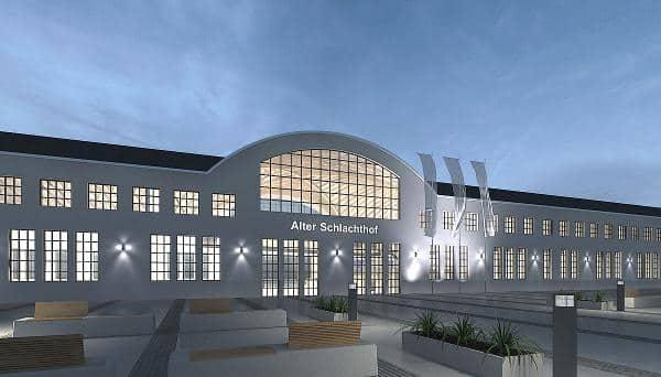 Kongresszentrum statt Kulturviertel: Erste Grafiken des geplanten Tagungszentrums hatte das Immobilienzentrum schon fertig, bevor der Vorschlag einer Kunsthalle im Stadtrat abgelehnt wurde.  Grafik: IZ