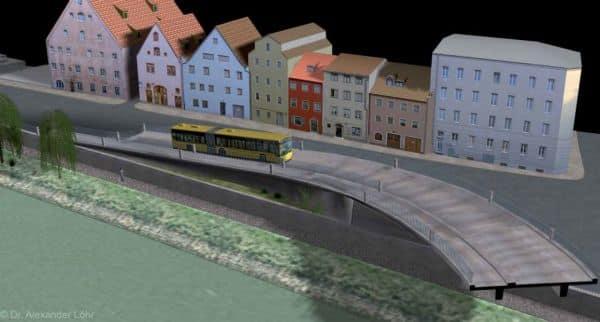 Eine Gefahr für das Welterbe: Die Westtrasse in einer Simulation der Donauanlieger. Grafik: Dr. A. Löhr)