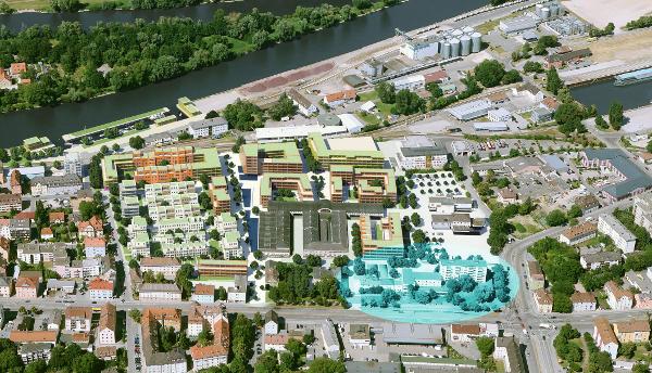 SEin Sozialghetto am Rand des Marina-Quartiers soll die Stadtbau bauen. Der Investor wurde von dieser Verpflichtung freigestellt. Fotomontage: CA Immo Deutschland, Markierung: Redaktion