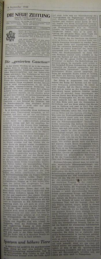 Spatz und höhere Tiere Die Neue Zeitung 9 September 1946