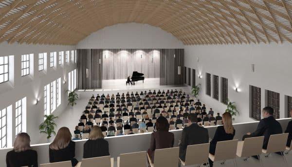 Visualisierung des großen Saals. (Quelle: Stadt Regensburg)