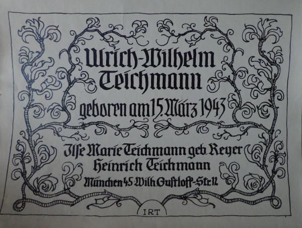 15. März 1943: Geburtsanzeige von Uli Teichmann.