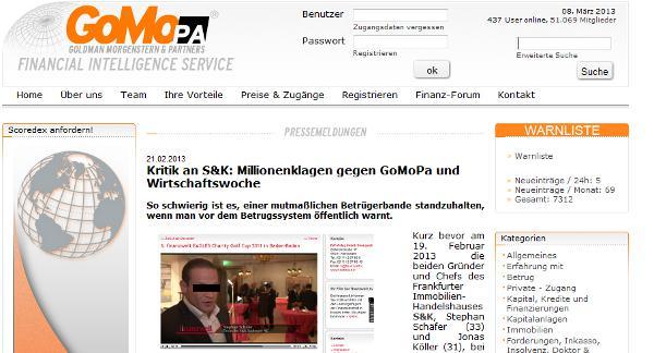 Unbeugsam gegen Finanzbetrüger? So stellt sich das GoMoPa-Portal gern selbst dar.