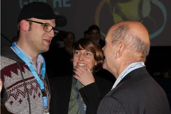 """""""Wenn man Qualität will, muss man dafür zahlen!"""": Festivalleiterin Insa Wiese mit OB Schaidinger und dem Filmemacher Roland Fischer. Foto: Liese"""