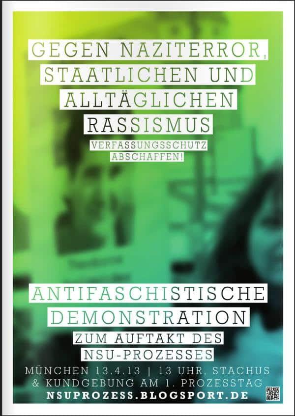 Zum Auftakt des NSU-Prozesses ist am 13. April in München eine Großdemonstration geplant.