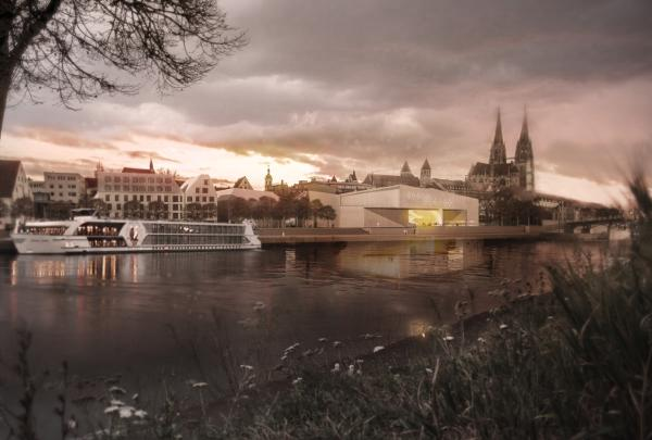 """So sieht er aus: Der Siegerntwurf für das """"Haus der Zukunft für die Geschichte der Gegenwart"""" (aus dem Ausschreibungstext für das Museum). Grafik: Stadt Regensburg"""