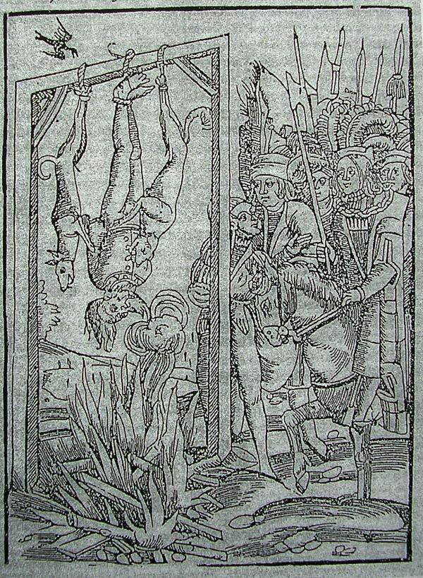 Verbrennung mit Hund. Diese Hinrichtungsart gehört zu den grausamsten des Mittelalters. Aus: Jahrbuch für Geschichte, Sprache und Literatur Elsaß-Lothringens, 1905.