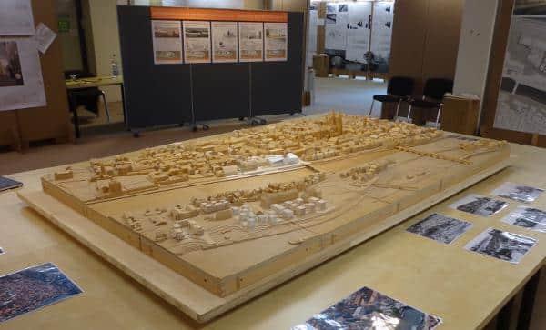 Das 3D-Modell ist, neben allen eingereichten Entwürfen, noch bis zum 24. Mai in der Benzstraße 1 zu besichtigen. Foto: as