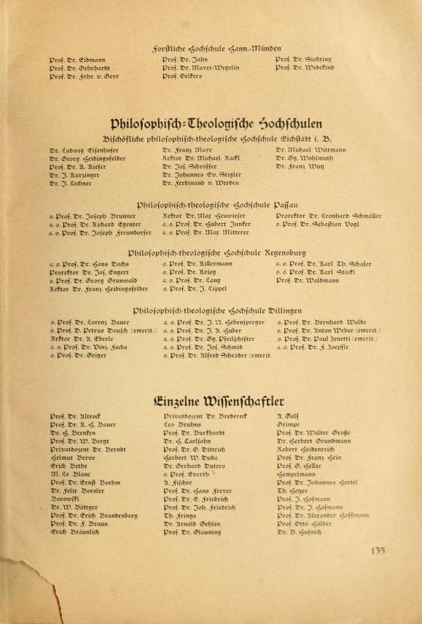 """Ein Fundus prominenter Regensburger Namen: Das """"Bekenntnis der Professoren an den deutschen Universitäten und Hochschulen zu Adolf Hitler""""."""