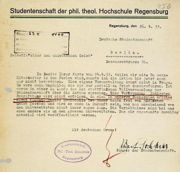 Studentenführer Rupert Fochtner bekräftigt: seine Hochschule war schon immer judenfrei.