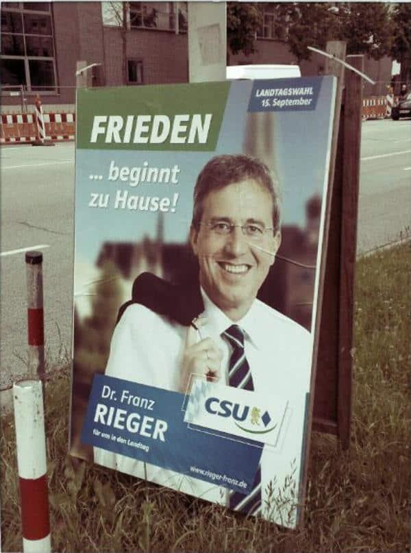 Friedensengel Rieger. Er schaffte es in den Landtag und ließ im Zuge seines Aufstiegs manchen Parteifreund über die Klinge springen. Foto: privat