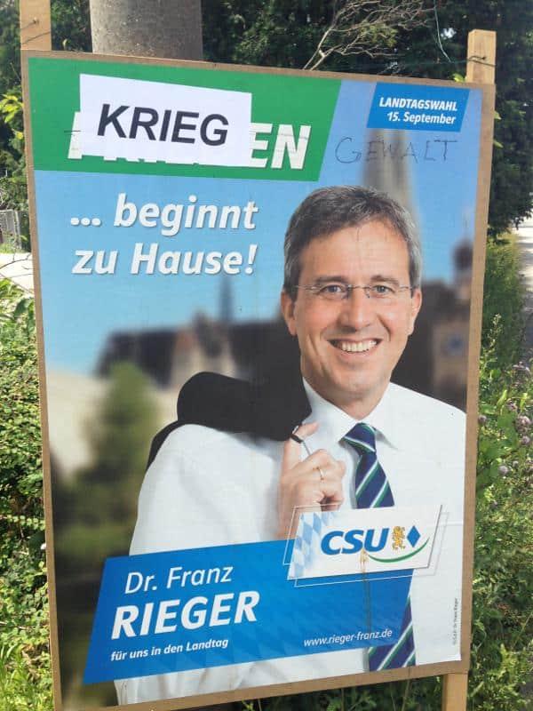Der Friede beginnt zuhause, meint Franz Rieger. Krieg auch, meinen anonyme Aktivisten.