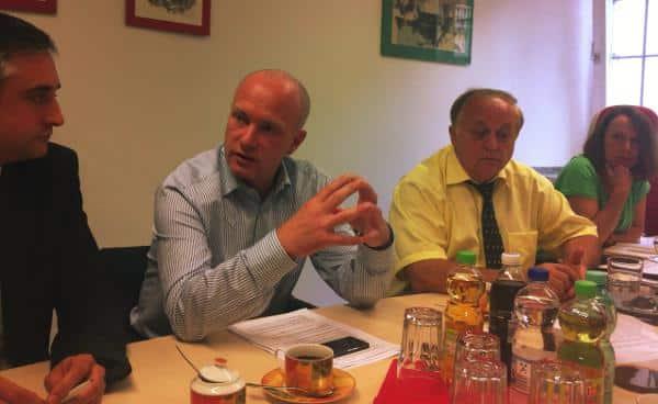 Pressekonferenz zwischen Wahlkampf und Koalitionsräson: Thomas Burger, Joachim Wolbergs, Norbert Hartl und Gertrud Maltz-Schwarzfischer. Foto: as