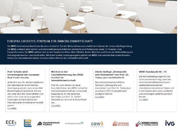 Mehr privatwirtschaftlich als universitär? Das Institut für Immobilienwirtschaft an der Universität Regensburg. Schäfers Arbeitgeber ist nur einer von vielen Sponsoren.