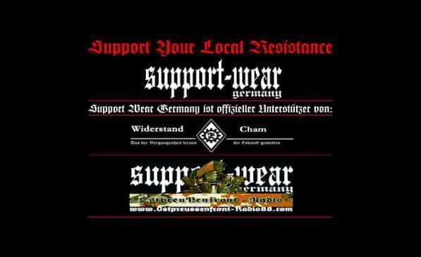 """Seite von """"Support Wear Germany"""" im Jahr 2009. Der damalige Betreiber geriert sich jetzt als Rocker."""