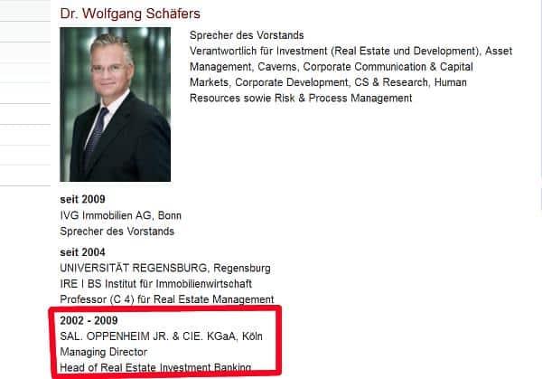 Erst durchgängig für Sal. Oppenheim tätig, dann mit Unterbrechung. Schäfers hat nach Nachfragen und Medienberichten kurzerhand seine im Internet veröffentlichte Vita korrigiert.