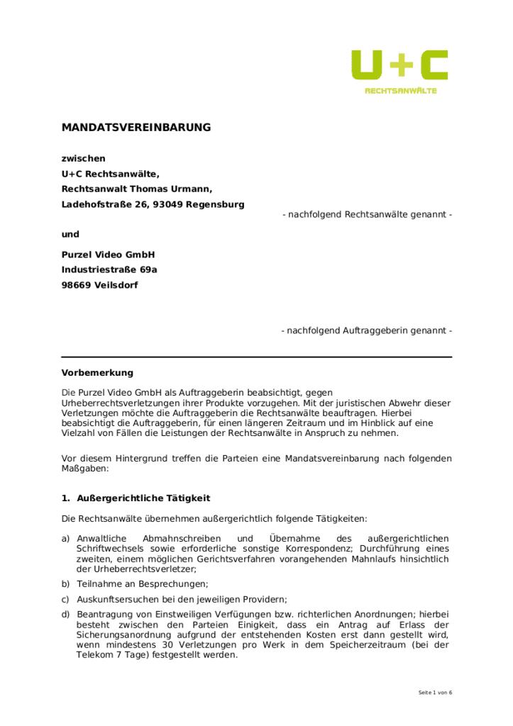 """Ein Auszug aus der Mandantenvereinbarung von U+C. Jurist Solmecke nennt diese Verträge """"illegal""""."""