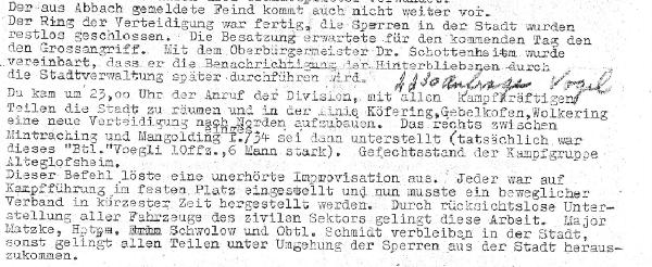 """Auszug aus nicht geschwärztem """"Kriegstagebuch"""" (um 1975) zu den entscheidenden Stunden des 26. April 1945 mit handschriftlichem Nachtrag."""