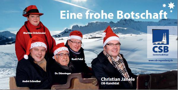 """Ein Bild aus glücklichen CSB-Tagen. Martina Dräxlmaier und André Schreiber (li) sind ausgetreten. Eberhard Dünninger steht kurz vor dem Wechsel zur CSU. Rudi Prösl und Christian Janele gehören der """"schlagkräftigen Truppe"""" weiter an."""