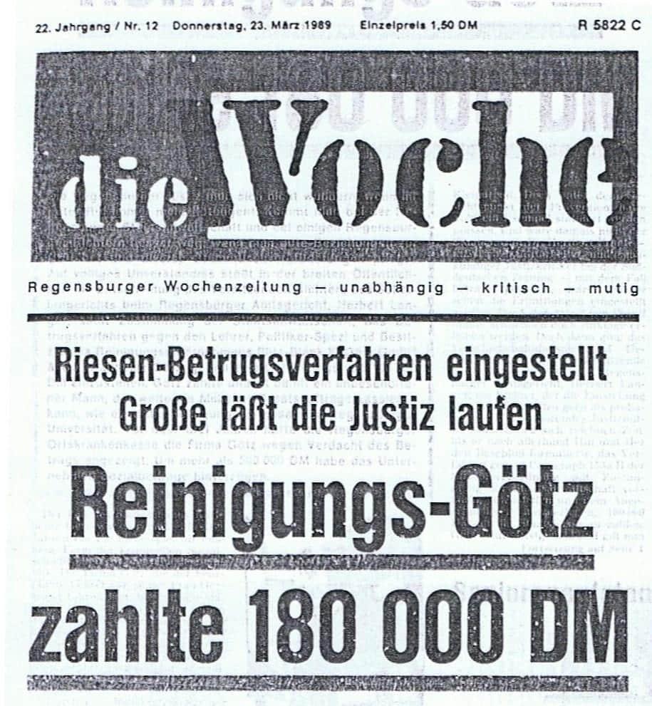 """Empörung über die Verfahrenseinstellung gegen Götz: """"Die Woche"""" im Januar 1989."""