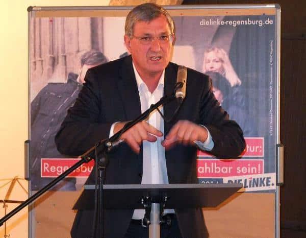 Beim Wahlkampfendspurt der Linken im Dollingersaal: Bundesvorsitzender Bernd Riexinger. Foto: Herbert Baumgärtner