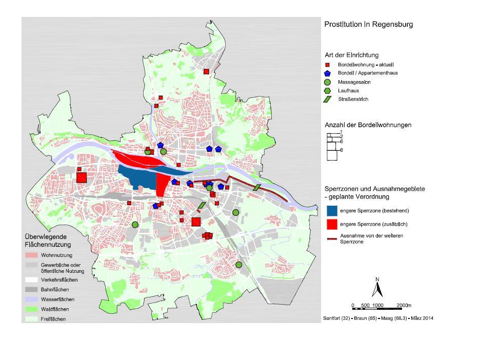 Prostitution in Regensburg und die geplante Erweiterung des Sperrbezirks. Karte: Stadt Regensburg (zum Vergrößern klicken)