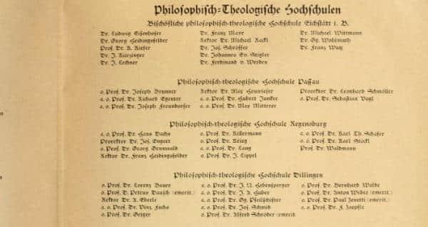 """""""Bekenntnis zu Adolf Hitler und dem nationalsozialistischen Staat"""". Unterzeichnet von Josef Engert und der Philosophisch-Theologischen Hochschule Regensburg."""