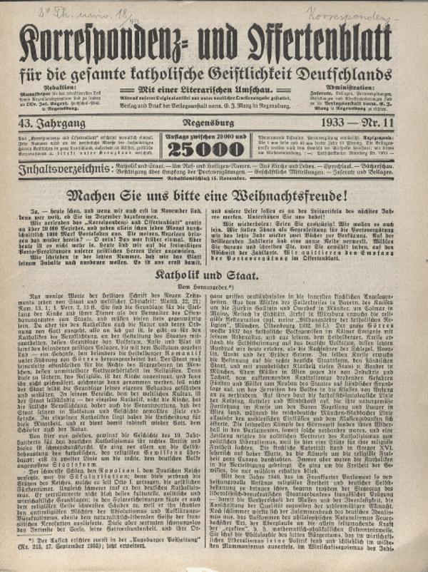 Engerts Korrespondenz- und Offertenblatt. Der völkische Theologe schreibt Klartext.