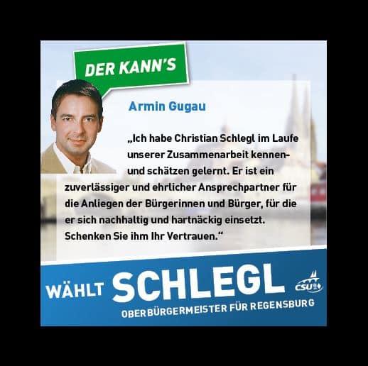 Erst Todfeind, dann Unterstützer: Armin Gugaus Unterstützerschreiben für Christian Schlegls Oberbürgermeisterkandidatur. (Quelle: www.facebook.com/christian.schlegl.der.kanns)
