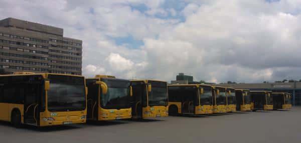 Ein Großteil der RVB-Busse blieb heute stehen. Fotos: pm