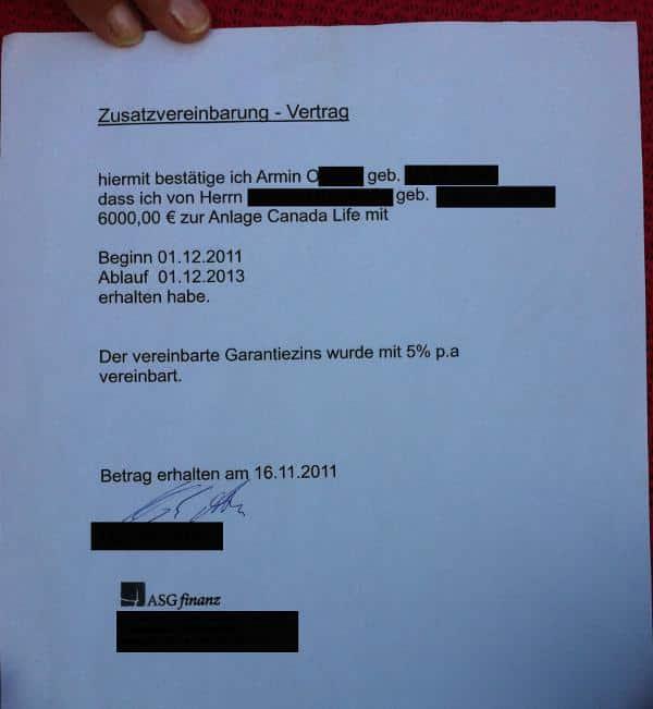 Der Standardvertrag von Armin O..