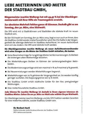 Zusagen der SPD an die Stadtbau-Mieter im Wahlkampf.