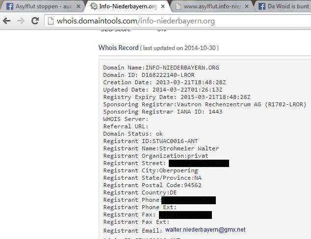 Walter Strohmeier gehört die Domain, auf die von den hetzerischen Facebook-Seiten verwiesen wird.