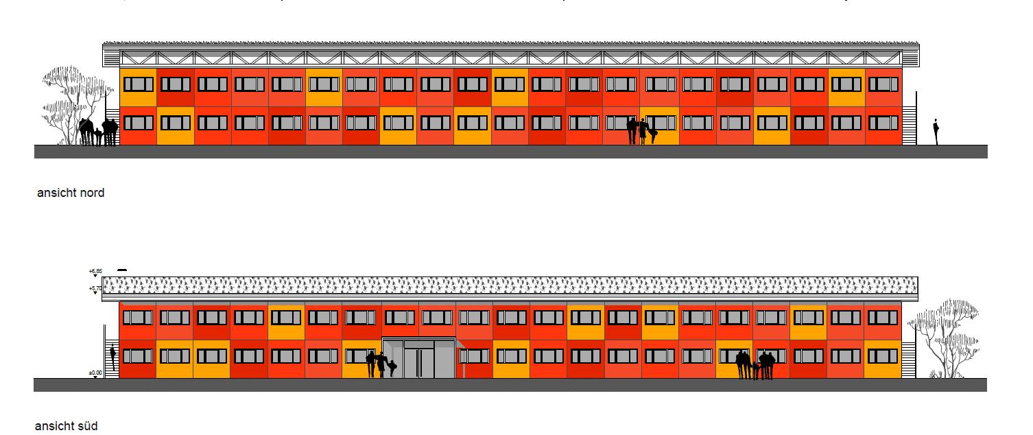 Bunte Beengtheit: Der Entwurf für die Container-Unterkunft. Grafik: Stadt Regensburg