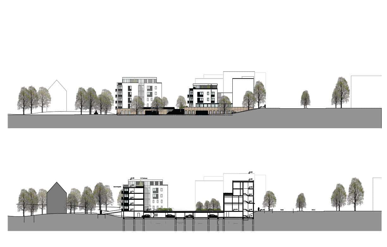 Ostansicht der geplanten Bebauung mit Tiefgarage. Grafik: GHP Architekten