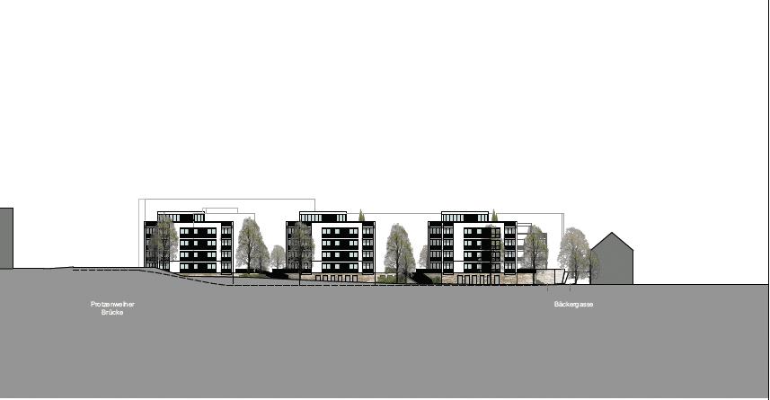 Die Südansicht der geplanten Bebauung. Grafik: GHP Architekten