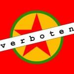 Die Fahne der Arbeiterpartei Kurdistans (PKK). Sie wird unter anderem in der Türkei, Deutschland und den USA als terroristische Vereinigung eingestuft.