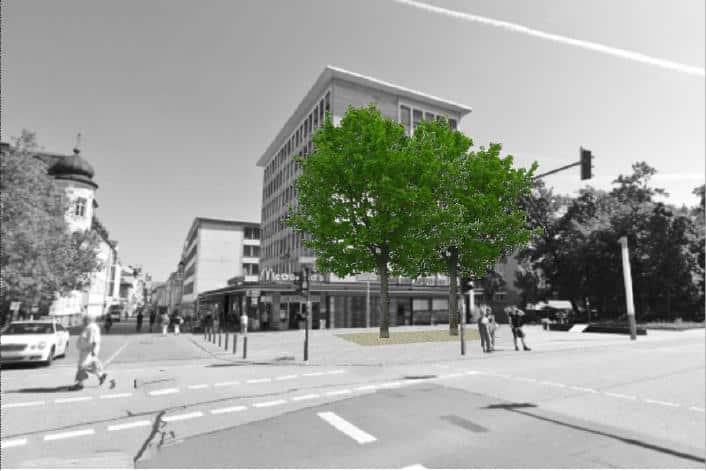 Richtig grün: Zwei Bäume im Europabrunnen. Grafik: Stadt Regensburg
