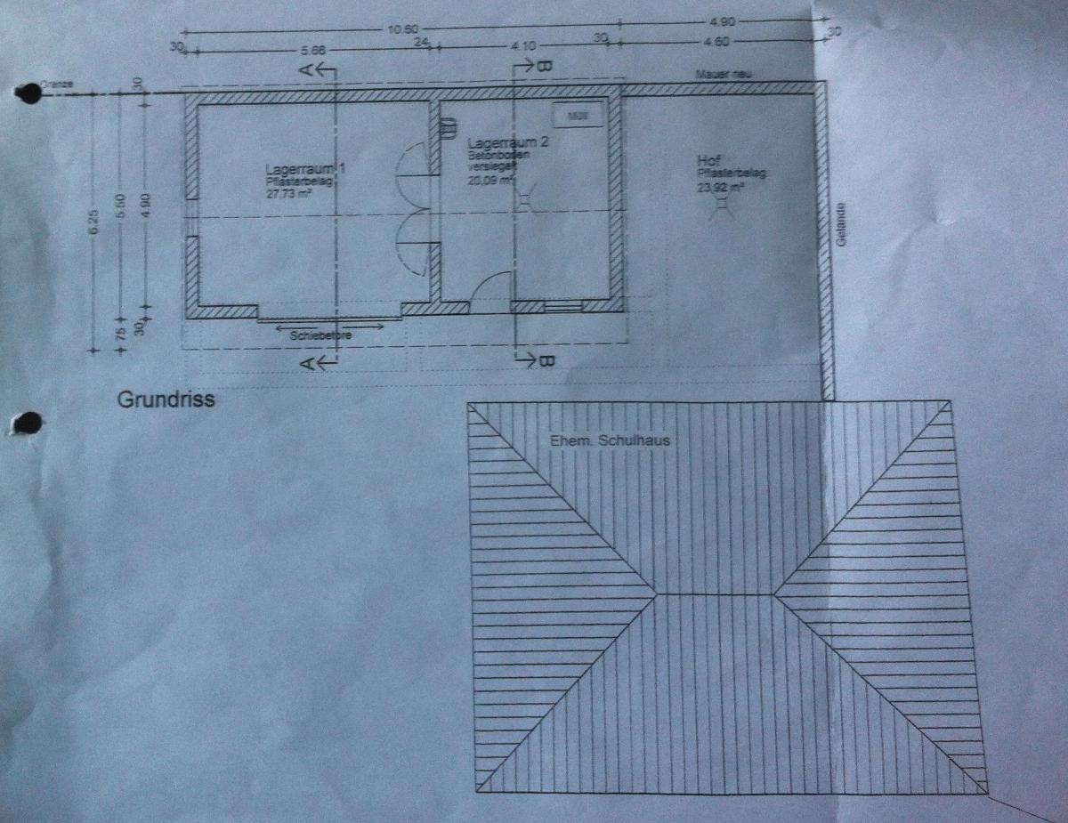 Der Plan, den die Gemeinde Schierling mit dem Förderantrag bei der regierung eingereicht hat. Für zwei Räume mit rund 48 Quadratmetern und gepflasterte, zum Teil überdachte Freifläche von rund 45 Quadratmeter veranschlagt die Gemeinde knapp 166.000 Euro.