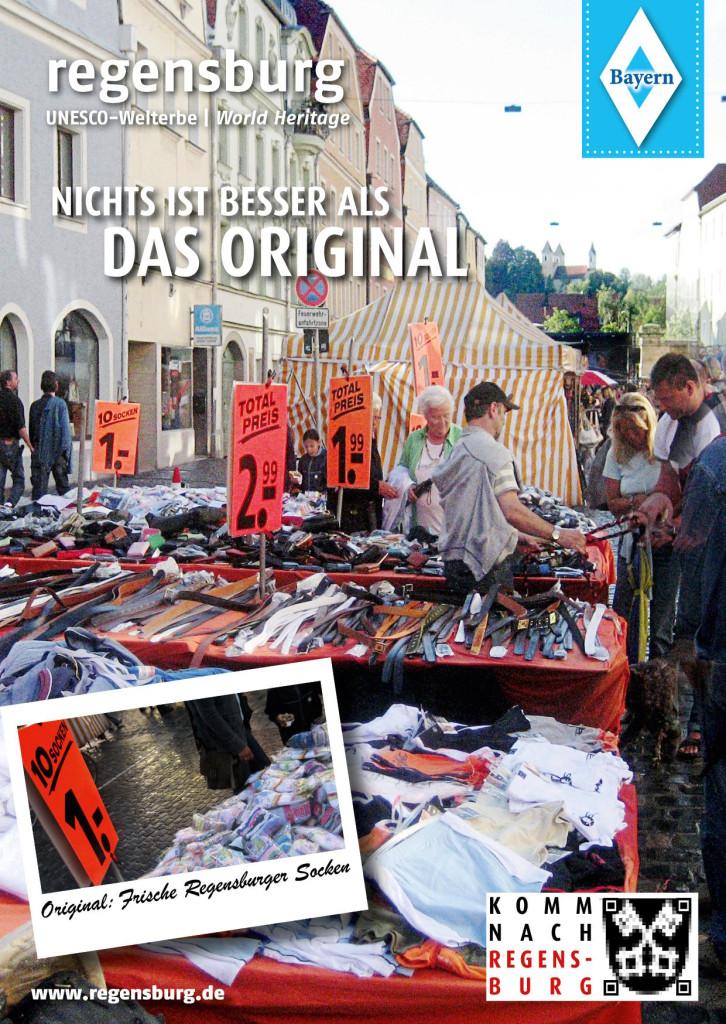"""Original: Frische Regensburger Socken"". Postkarte: Kulturreverrat Regensburg"